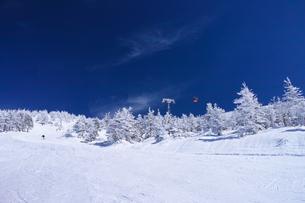 ゴンドラと樹氷とスキーヤーの写真素材 [FYI01203811]