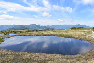 苗場山の池塘に浮かぶ空の写真素材 [FYI01205170]