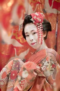 赤い着物を着た日本の可愛い芸者が鶴模様の飾りをした壁の前に立っている姿。の写真素材 [FYI01205182]