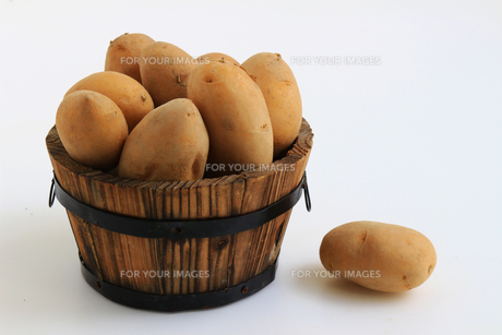 小さな丸い樽に飾られた熟したジャガイモの写真素材 [FYI01206358]