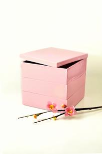 ピンクの重箱と梅の花の写真素材 [FYI01207367]