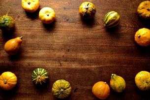 カラフルな南瓜 木材背景の写真素材 [FYI01207374]