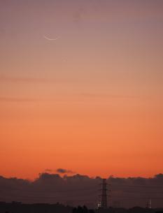 新月と水星と東京タワーの写真素材 [FYI01207425]