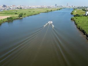 江戸川上空の風景の写真素材 [FYI01207430]