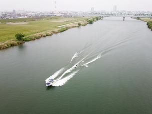 江戸川のウェイクボードの写真素材 [FYI01207432]