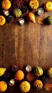 南瓜と枯葉とキャンドルのフレーム 木材背景の写真素材 [FYI01207471]