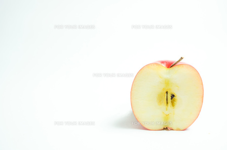 リンゴの断面 白色背景の写真素材 [FYI01207772]