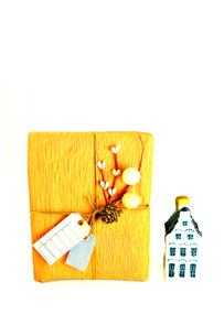 タグ付きのプレゼントと家のオーナメントの写真素材 [FYI01207877]
