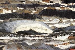 不規則な縞模様の海岸の地層の写真素材 [FYI01208301]