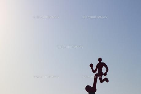 お台場のジョギングコースの立体的な標識の写真素材 [FYI01208304]