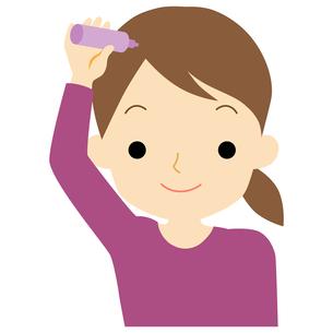 ヘアケアをする女性のイラスト素材 [FYI01208372]