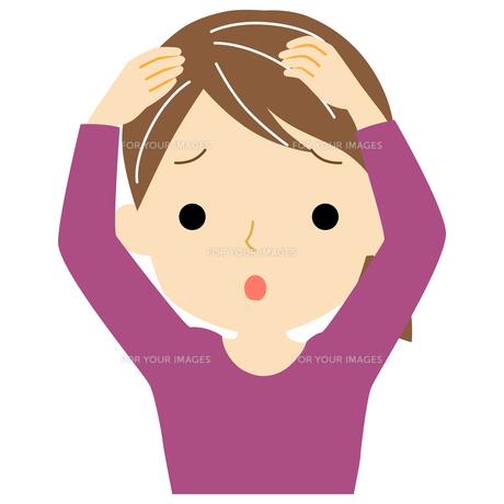 白髪に悩む女性のイラスト素材 [FYI01208390]