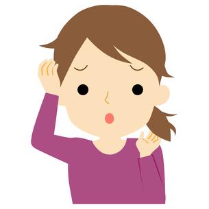 くせ毛に悩む女性のイラスト素材 [FYI01208397]