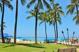 ハワイ ワイキキの浜辺の写真素材 [FYI01209522]