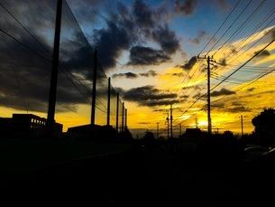 夏の終わりの夕焼けの写真素材 [FYI01209775]