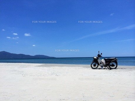 白浜とバイク(カブ)の写真素材 [FYI01210137]