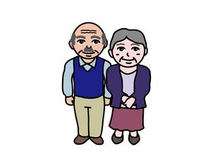 シニア老夫婦のイラスト素材 [FYI01210359]