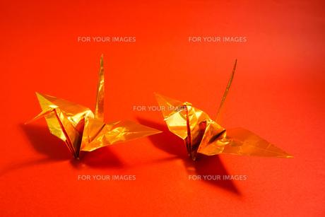金色の折り鶴 赤色背景の写真素材 [FYI01211287]