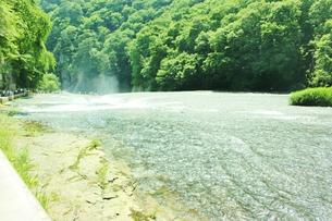 群馬県の吹き割りの滝 夏の風景の写真素材 [FYI01211717]