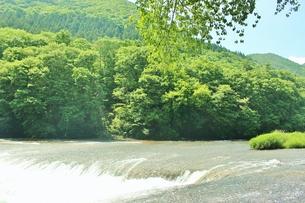 群馬県の吹き割りの滝 夏の風景の写真素材 [FYI01211720]