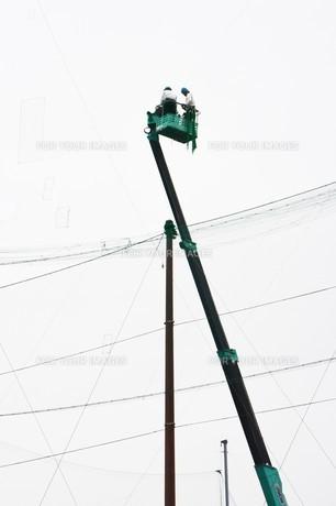 野球場ネットフェンスの補修工事の写真素材 [FYI01211987]