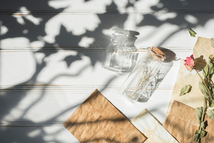 木漏れ日と小瓶と封筒の写真素材 [FYI01216571]