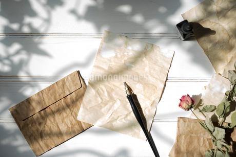 日差しの強い木漏れ日と、紙の上に置いたペンと、散りばめた封筒と紙と花の写真素材 [FYI01216574]