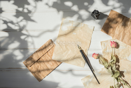ペンとインクと散りばめた紙と封筒と花の写真素材 [FYI01216576]