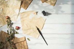 木漏れ日とペンとインクと散りばめた紙と封筒とドライフラワーの写真素材 [FYI01216578]