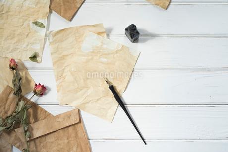 ペンとインクと散りばめた紙と封筒とドライフラワーの写真素材 [FYI01216579]