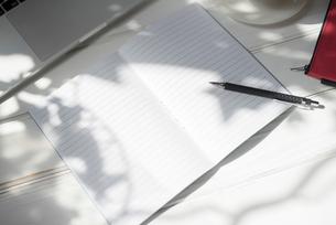 木漏れ日とノートとペンの写真素材 [FYI01216602]