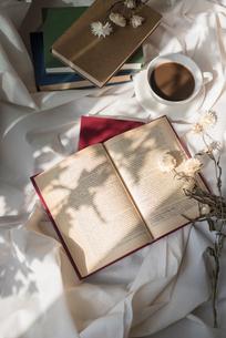 複数の本とドライフラワーとコーヒーカップに差し込む光の写真素材 [FYI01216612]