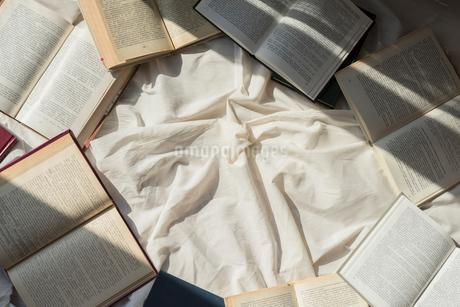 白い布の上に散りばめたアンティークな洋書の写真素材 [FYI01216632]