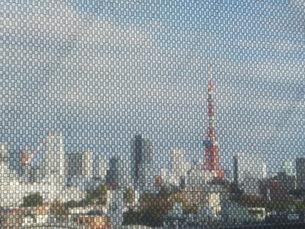 スクリーンを通して見た東京タワーとビル群の写真素材 [FYI01217685]