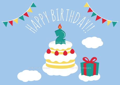 2才 誕生日 バースデーカードのイラスト素材 [FYI01217921]