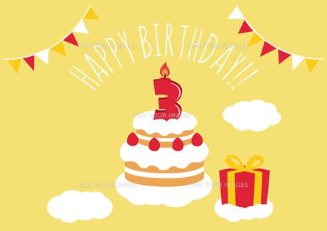 3才 誕生日 バースデーカードのイラスト素材 [FYI01217923]