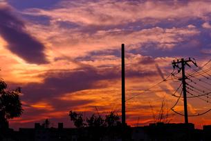 夕焼け空と電柱の写真素材 [FYI01218806]