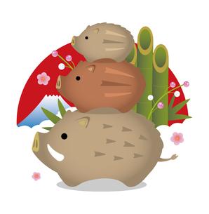 2019 亥年 年賀状素材 / イノシシ置き物イラスト(3段重ね) / 門松と富士山のイラスト素材 [FYI01219636]