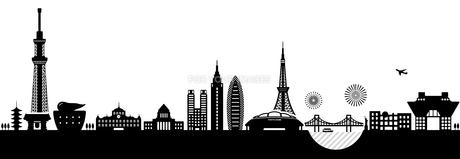 東京の都市風景イラスト/建物・タワー・ビル シルエットイラストのイラスト素材 [FYI01219650]