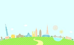 東京の都市風景のカラフルなイラスト/建物・タワー・ビル イラストのイラスト素材 [FYI01219655]