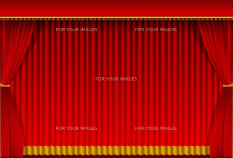 舞台の赤い暗幕カーテン 背景イラスト素材 (横)のイラスト素材 [FYI01219657]