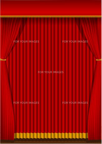 舞台の赤い暗幕カーテン 背景イラスト素材 (縦)のイラスト素材 [FYI01219658]