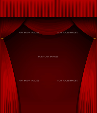 舞台の赤い暗幕カーテン 背景イラスト素材 (縦)のイラスト素材 [FYI01219659]