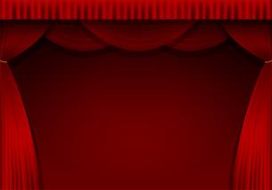 舞台の赤い暗幕カーテン 背景イラスト素材 (横)のイラスト素材 [FYI01219660]