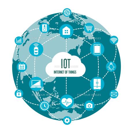 IoT(Internet of things) / モノのインターネットイメージイラスト(地球)のイラスト素材 [FYI01219667]