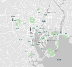 東京ベイエリア(東京湾周辺) 道路マップ / 地名・観光名所付きのイラスト素材 [FYI01219686]