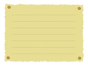 画鋲で止められたボロボロの紙 (罫線あり)のイラスト素材 [FYI01220048]