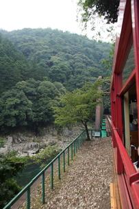 保津峡トロッコ列車からの車窓風景(保津峡)の写真素材 [FYI01220174]