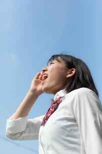 空に向かって叫ぶ女子高校生の写真素材 [FYI01220789]