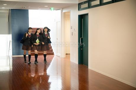 廊下を歩く3人の女子高校生の写真素材 [FYI01220851]